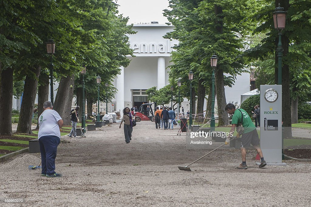 Workers finish to prepare the street of an entrance of the 15th Architecture Venice Biennale near the Giardini area on May 24, 2016 in Venice, Italy. The 56th International Architecture Exhibition of La Biennale di Venezia will be open to the public from May 28, 2016 in Venice, Italy.