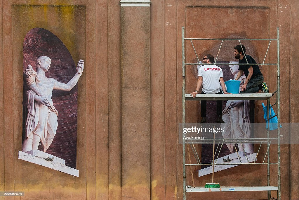Workers finish to prepare their installation at the 15th Architecture Venice Biennale area on May 24, 2016 in Venice, Italy. The 56th International Architecture Exhibition of La Biennale di Venezia will be open to the public from May 28, 2016 in Venice, Italy.