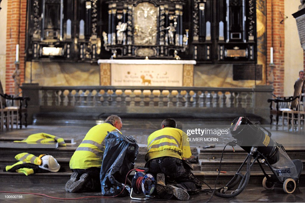 Workers fix some steps in the Cathedral, known as Storkyrkan, situated near the Royal Castle in Stockholm on May 25, 2010, less than a month before Crown Princess Victoria 's wedding, the 32-year-old eldest daughter of King Carl XVI Gustaf. Tensions with the archbishop, the future prince's health problems and the soaring cost of the festivities are just some of the controversies surrounding the run-up to Swedish Crown Princess Victoria and her husband-to-be Daniel Westling's June 19 wedding.