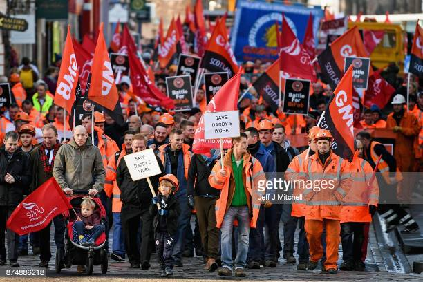 Workers from engineering firm BiFab hold a demonstration in Edinburgh on November 16 2017 in Edinburgh Scotland The firm which has yards in Fife and...