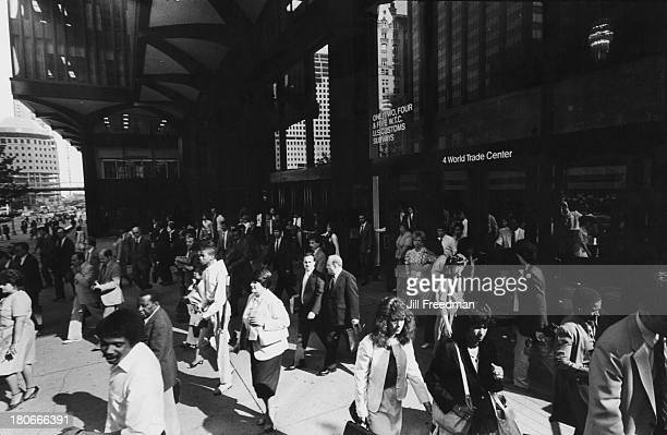 Workers from four World Trade Center leave the building New York City circa 1984
