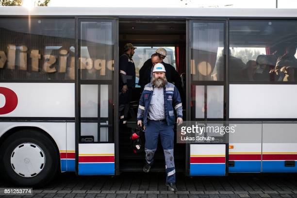 Workers from German steelmaker ThyssenKrupp arrive with busses to protest against the recently announced fusion of ThyssenKrupp with steelmaker Tata...
