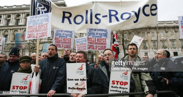 Workers from RollsRoyce protest outside Downing Street after handing in a petition to No 10