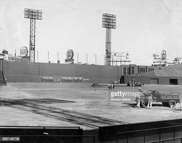 Workers grading the field with new loam at Fenway Park in Boston on Oct 2 1957