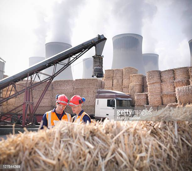 Workers in biomass fuel facility