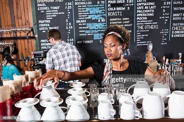 Workers in coffee shop