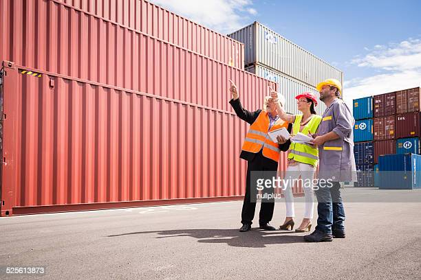 workers in large container port