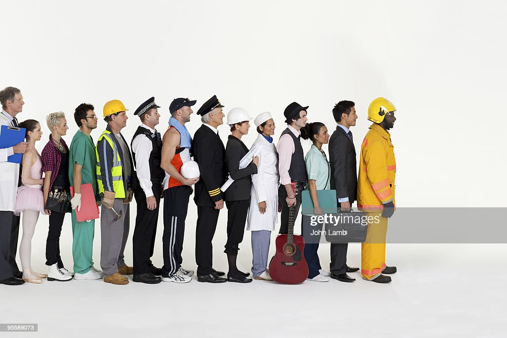 Workers in line : Stock Photo