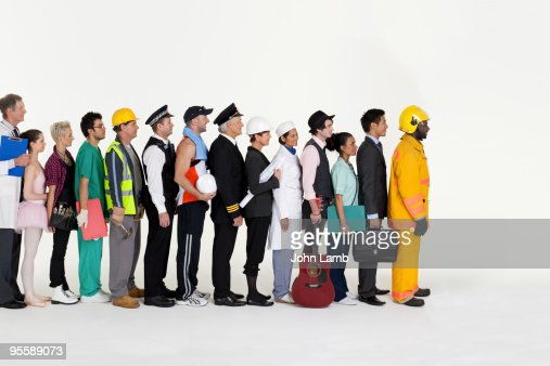 Workers in line
