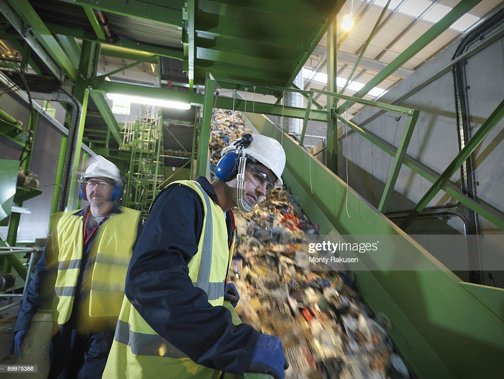 Workers In Recycle Plant : Stock Photo