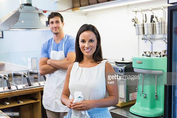 Workers in waffle shop