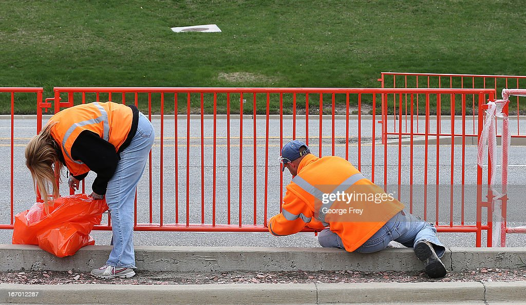Workers install crowd control barriers at the starting line of the Salt Lake City Marathon, April, 19, 2013 in Salt Lake City, Utah. The Salt Lake City Marathon is going to be run tomorrow, April 20, 2013 and will be the first major marathon in the U.S. since the Boston Marathon Bombing. Police officials have said security has been dramatically increased since the Boston bombing and is at some the highest levels since the city hosted the 2002 Olympics.