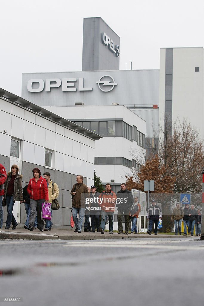 Workers leave after their shift German car maker Opel's plant on March 2, 2009 in Eisenach, Germany. Opel announces a business plan directed to the German government to substantiate the demand for subsidy. Opel needs a rescue package of 3.3 billion euros to stay solvent due to serious difficulties of GM.