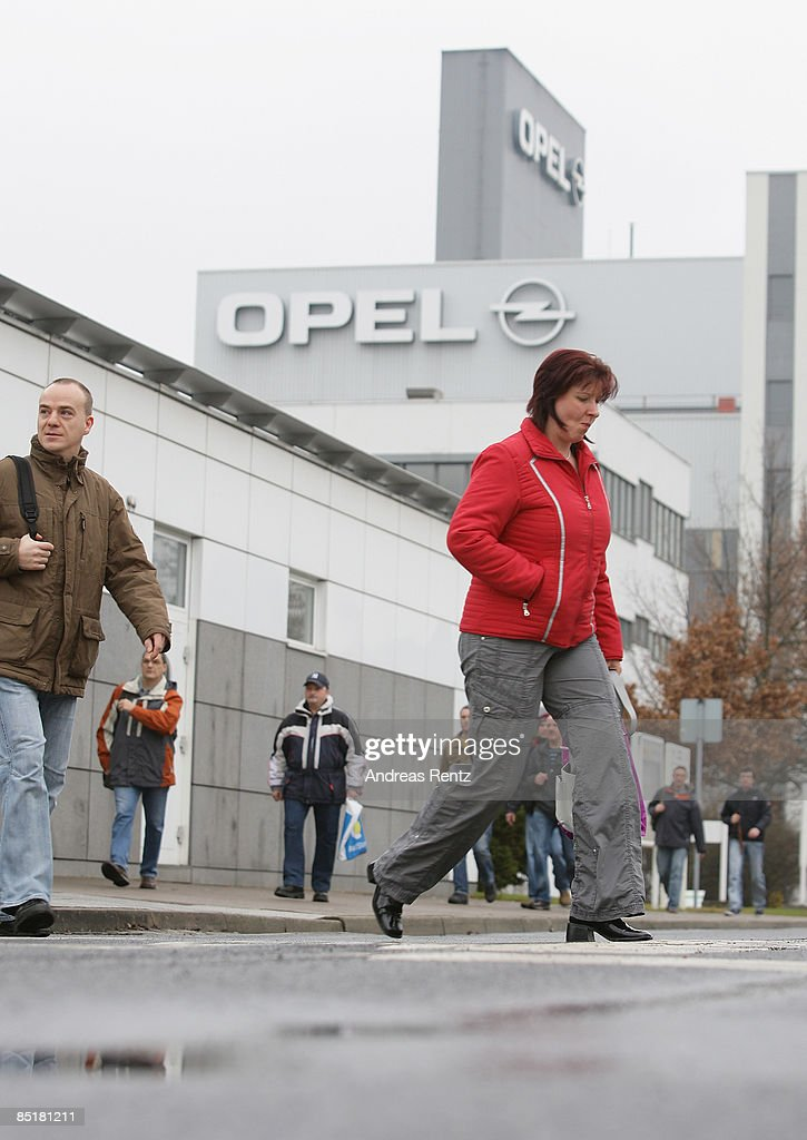 Workers leave after their shift the German car maker Opel's plant on March 2, 2009 in Eisenach, Germany. Opel announces a business plan directed to the German government to substantiate the demand for subsidy. Opel needs a rescue package of 3.3 billion euros to stay solvent due to serious difficulties of GM.