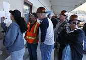 Workers line up to see their mornin shift assignments at the Ray Mine The small mining communities of Kearny and Hayden Arizona are in the heart of...