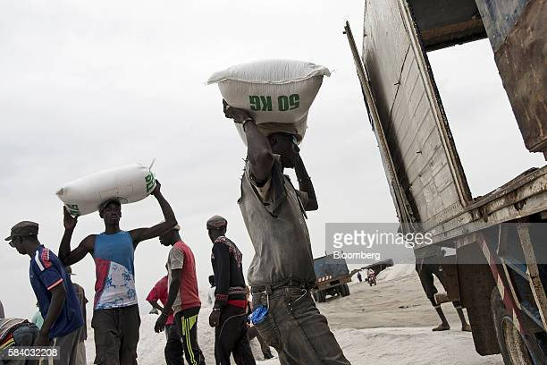Workers load a truck with 25 kilo sacks of salt collected from the bed of Lake Retba during the harvest near Dakar Senegal on Wednesday July 27 2016...
