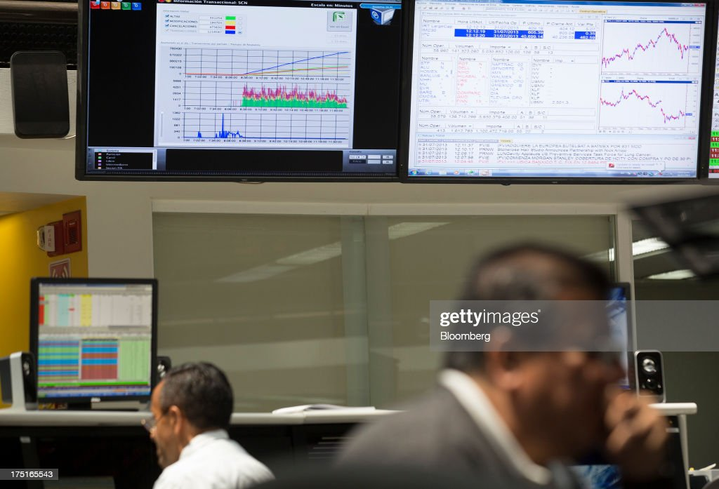 Workers monitor the stock market movement on the trading floor at the Bolsa Mexicana de Valores (BMV), Mexico's stock exchange, in Mexico City, Mexico, on Wednesday, July 31, 2013. Mexico's economy is forecast to grow 2.8 percent this year based on analyst estimates compiled by Bloomberg. Photographer: Susana Gonzalez/Bloomberg via Getty Images