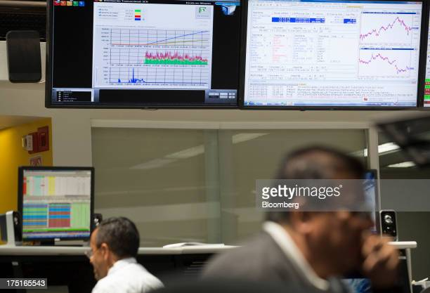 Workers monitor the stock market movement on the trading floor at the Bolsa Mexicana de Valores Mexico's stock exchange in Mexico City Mexico on...