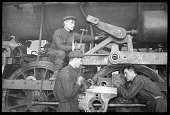 Workers of a locomotiverepair factory circa 1940