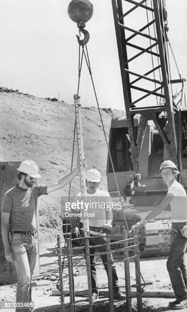 Workers Of Caissons Inc Englewood Place Reinforcing Steel Employes from left are Frank Hoffman William Bloesser and Robert Allen Credit Denver Post
