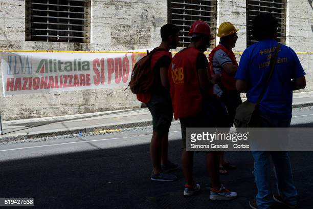 Workers of ILVA steelworks protest at the Ministry of Economic Development against the sale of steel producer Ilva to ArcelorMittal on July 20 2017...