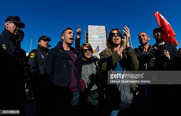 Workers of Spanish television station Canal 9 part of Spanish broadcaster Radio Televisio Valnciana leave the building during an eviction of the...