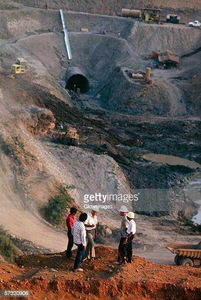 Workers on irrigation dam project in Indonesia