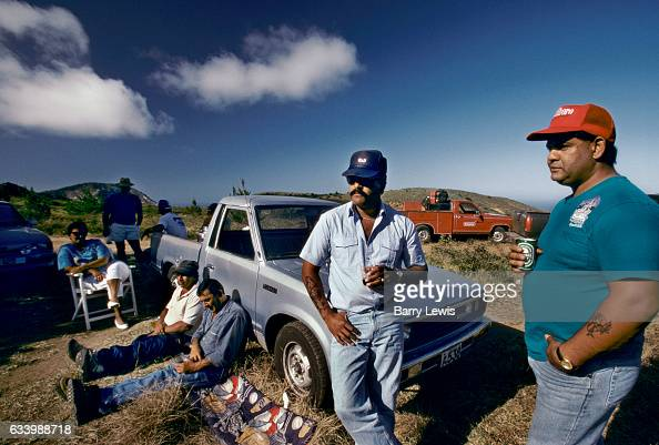 Workers on the island from St Helina enjoying a Sunday picnic 27th May 1997 on Ascension a small isolated volcanic island in the equatorial waters of...