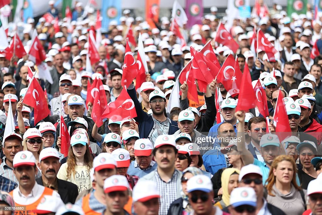 Workers, organized by labor unions and other labor organization take part in a rally to mark May Day, International Workers' Day in Sakarya province of Turkey on May 01, 2016. Every year May Day is observed and commemorated as an official holiday all around Turkey.