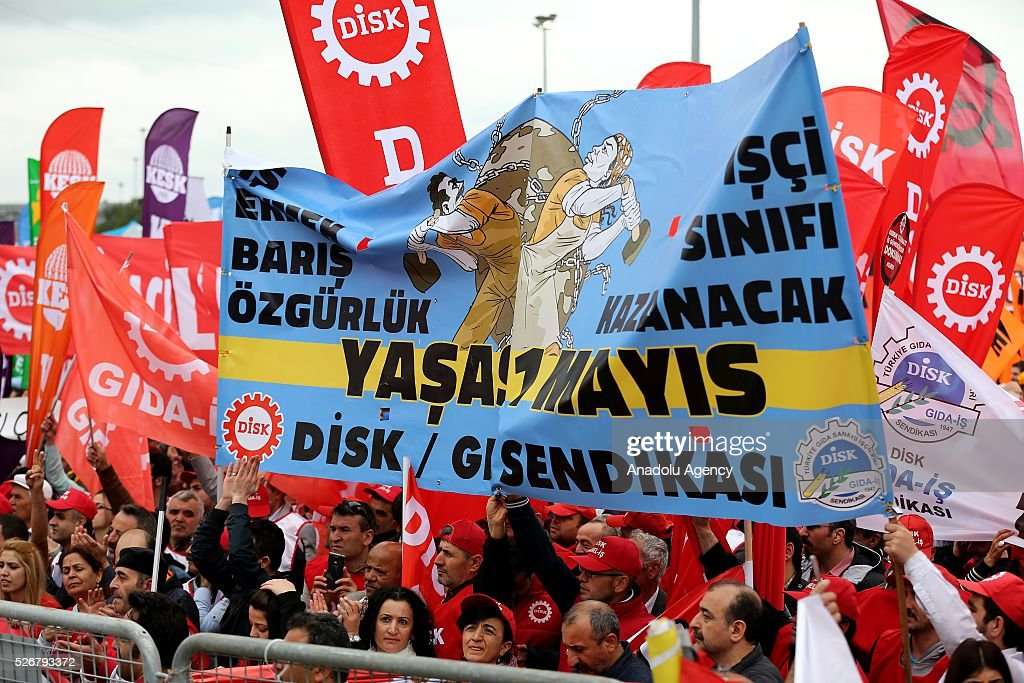 Workers, organized by labor unions and other labor organization take part in a rally to mark May Day, International Workers' Day in Istanbul,Turkey on May 01, 2016. Every year, May Day is observed and commemorated as an official holiday under the name 'May 1, Labour and Solidarity Day' all around Turkey.