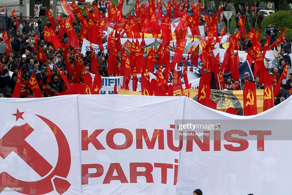 Workers, organized by labor unions and other labor organization take part in a rally to mark May Day, International Workers' Day at Bakirkoy district of Istanbul,Turkey on May 01, 2016. Every year, May Day is observed and commemorated as an official holiday under the name 'May 1, Labour and Solidarity Day' all around Turkey.