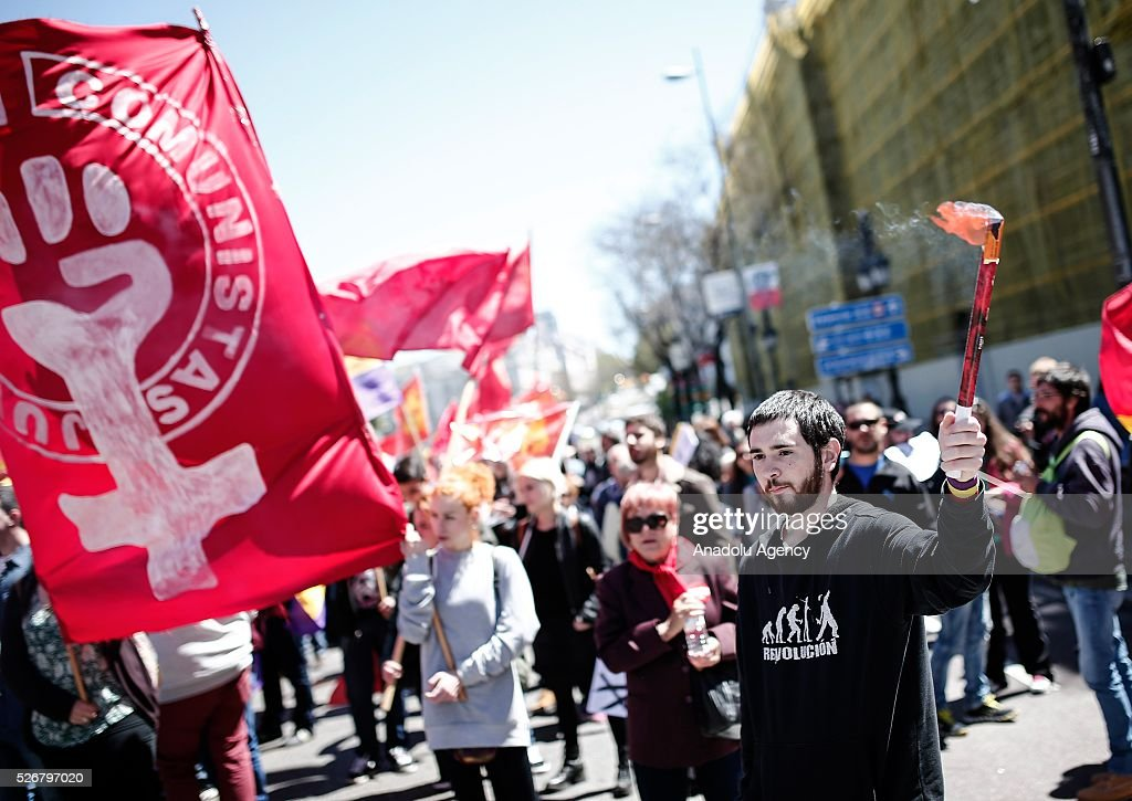 Workers, organized by labor unions and other labor organization take part in a rally to mark May Day, International Workers' Day in Madrid, Spain on May 01, 2016. Every year May Day is observed and commemorated as an official holiday all around Spain.