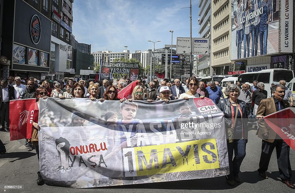 Workers, organized by labor unions and other labor organization take part in a rally to mark May Day, International Workers' Day in Ankara, Turkey on May 01, 2016. Every year May Day is observed and commemorated as an official holiday all around Turkey.