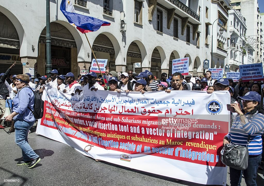 Workers, organized by labor unions and other labor organization take part in a rally to mark May Day, International Workers' Day in Rabat, Morocco on May 01, 2016. Every year May Day is observed and commemorated all around Morocco.