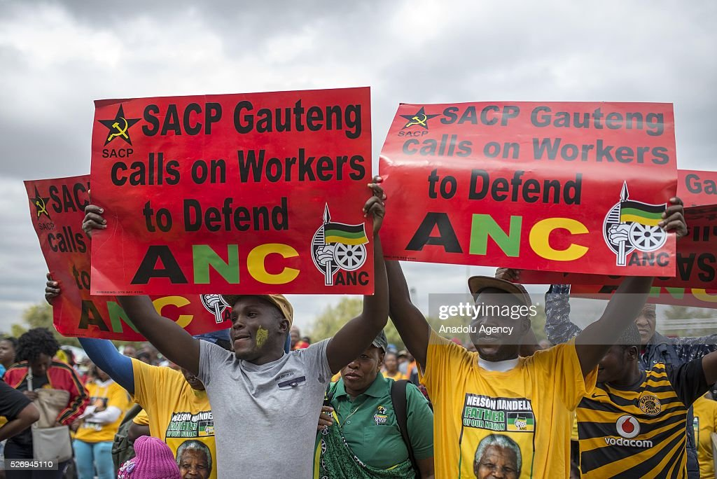 Workers, organized by the Congress of South African Trade Unions (COSATU) and African National Congress (ANC) take part in a rally to mark May Day, International Workers' Day at Morelete Park in Pretoria, South Africa on May 01, 2016. Every year May Day is observed and commemorated all around South Africa.