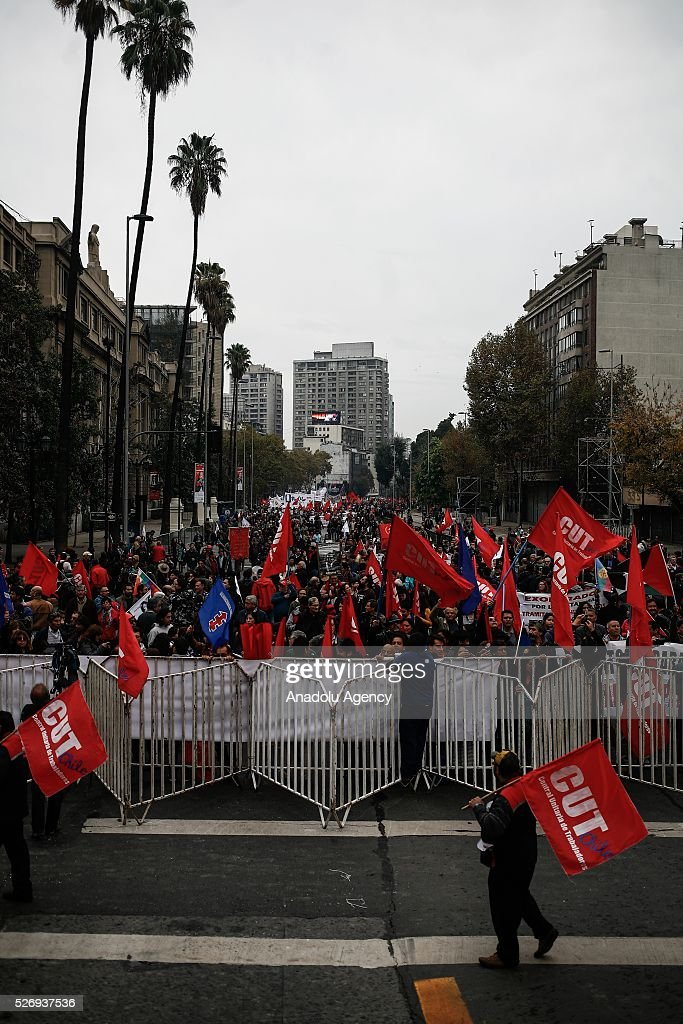 Workers, organized labor organization CUT (Central Unitaria de Trabajadores) take part in a rally to mark May Day, International Workers' Day in Santiago, Chile on May 01, 2016. As is tradition in Santiago , the CUT called for a march to commemorate the date that is crossed by the rejection of the Constitutional Court to union ownership, considered the heart of the labor reform