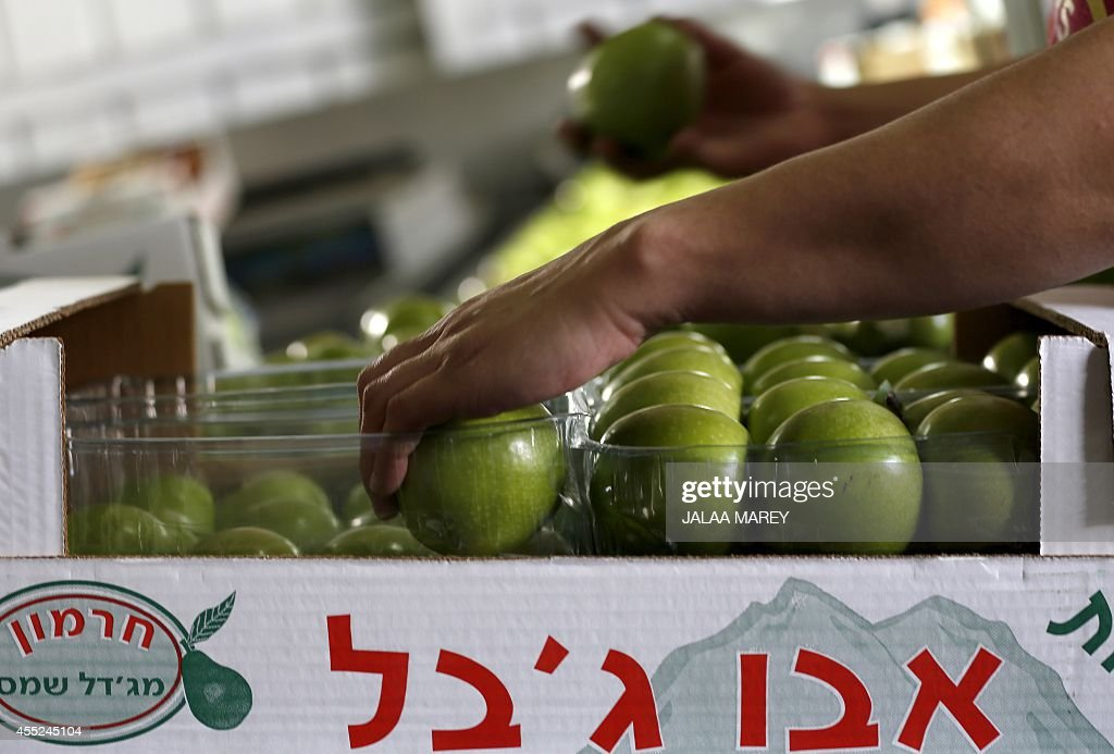 Workers pack apples on September 7 2014 at a factory in the village of Majdal Shams in the Israeli Occupied Golan Heights which overlooks Israel's...