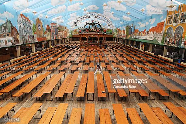 Workers prepare a beer tent for the Oktoberfest beer festival at Theresienwiese on September 15 2010 in Munich Germany The world's biggest beer...
