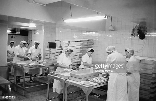 Workers prepare sandwiches in the kitchen of a Marks Spencer's store 10th September 1955 Original Publication Picture Post 7984 Quality Value And...