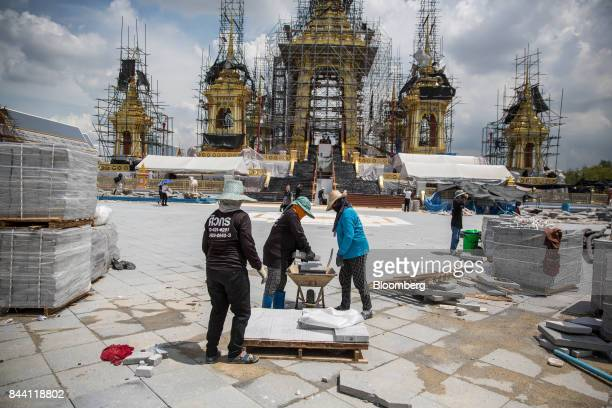 Workers prepare the ceremonial ground for King Bhumibol Adulyadej's cremation at Sanam Luang park in Bangkok Thailand on Friday Sept 8 2017 The...