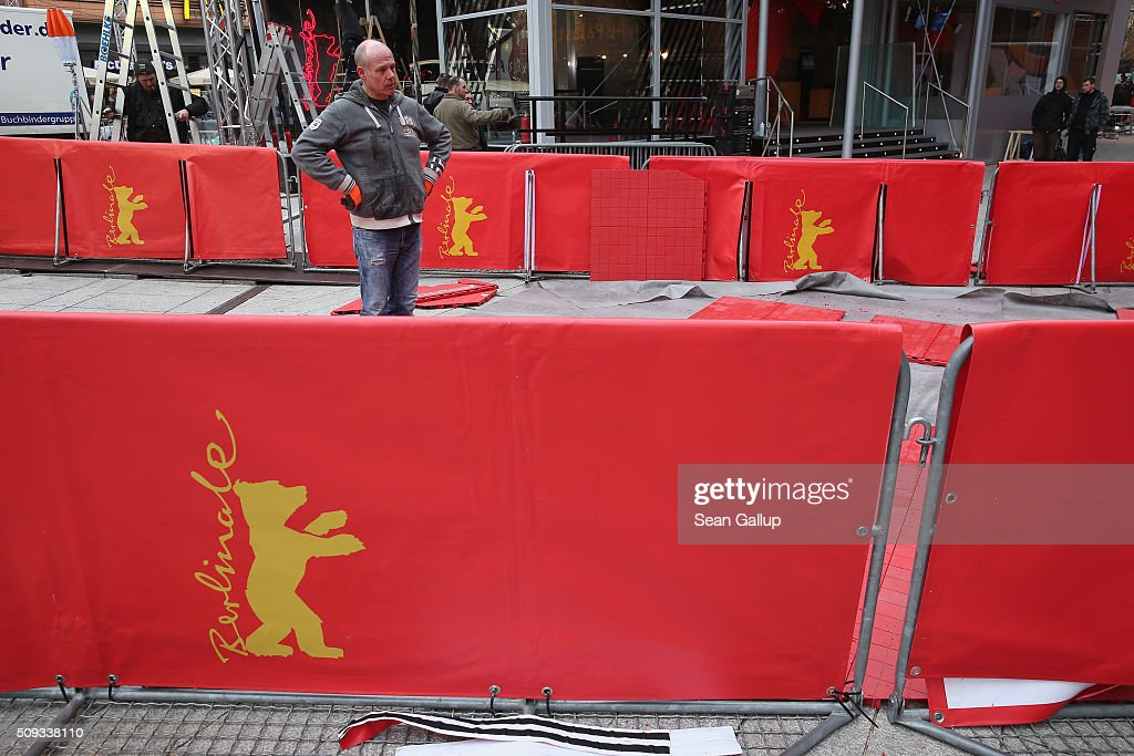 Workers prepare the main red carpet arrivals area in front of the Berlinale Palast ahead of the upcoming 66th Berlinale international film festival on February 10, 2016 in Berlin, Germany. The 66th Berlinale will run from February 11-21.