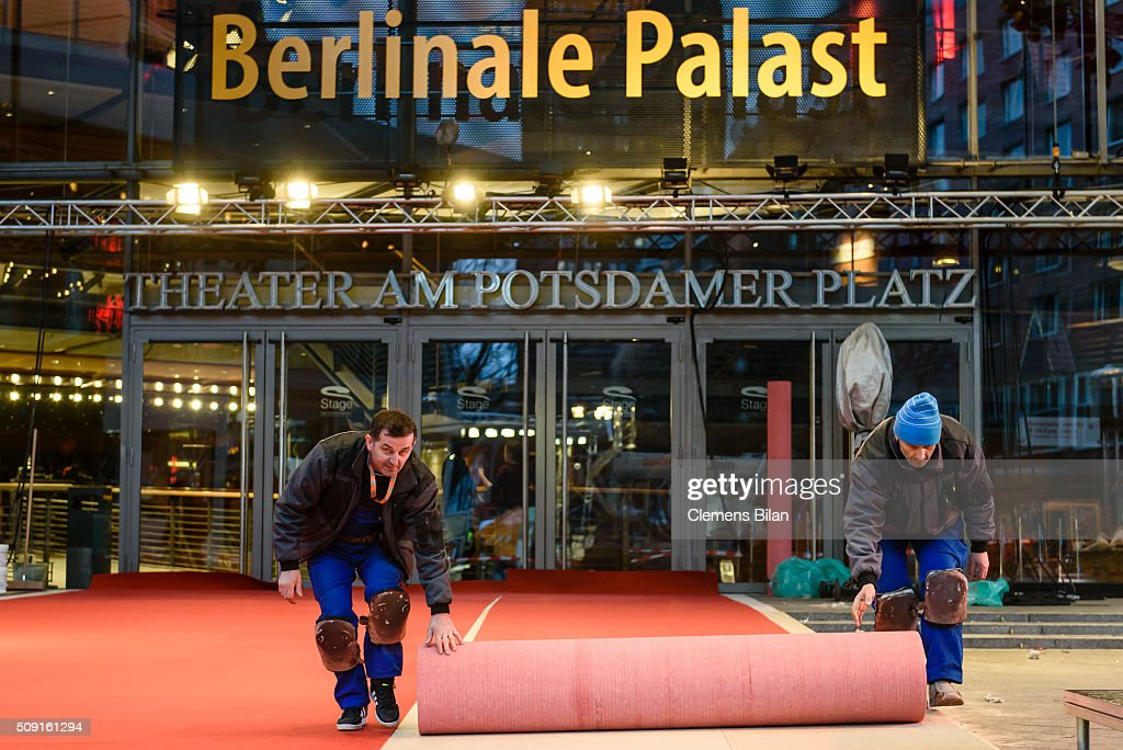 Workers prepare the red carpet prior to the 66th Berlinale at Berlinale Palast on February 9, 2016 in Berlin, Germany.