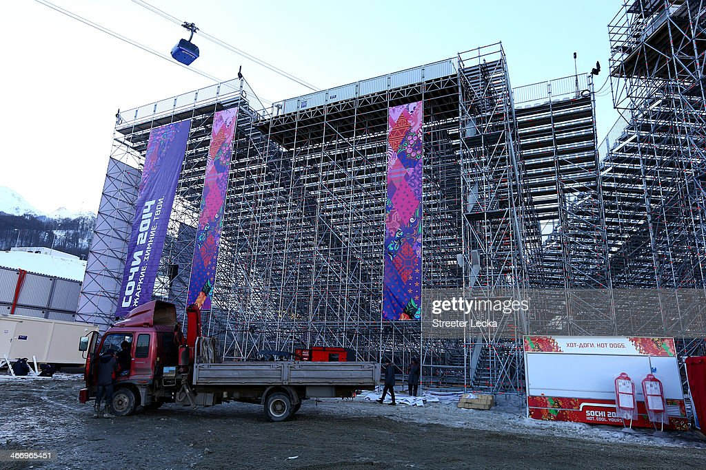 Workers prepare the venue at the Extreme Park at Rosa Khutor Mountain ahead of the Sochi 2014 Winter Olympics on February 5, 2014 in Sochi, Russia.