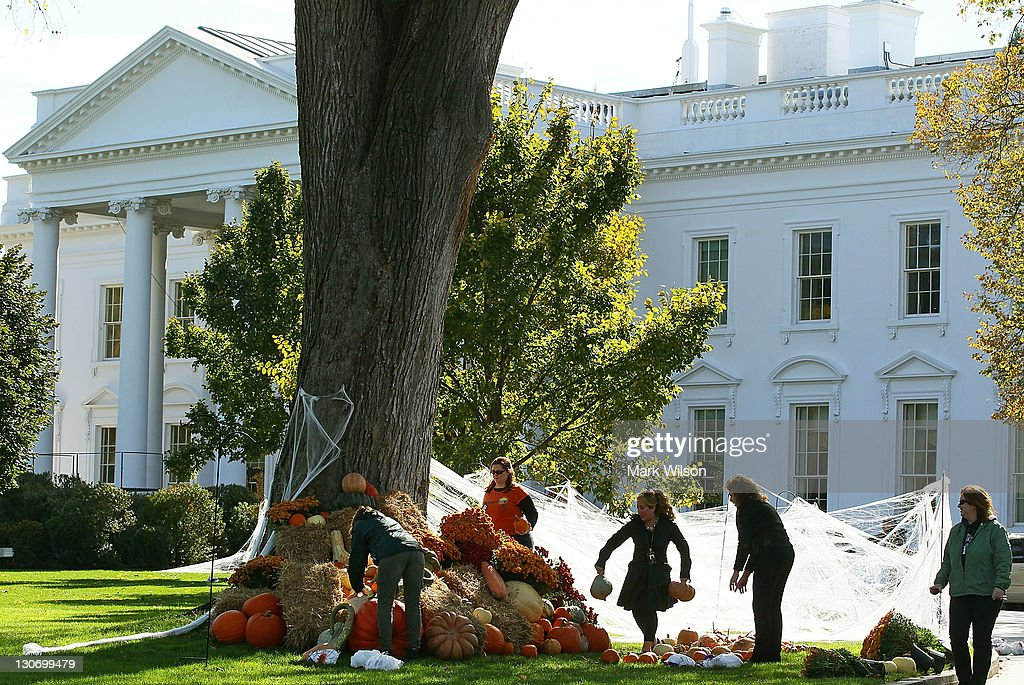 White House Decorated For Halloween Part - 32: Workers Put Up Halloween Decorations On The North Lawn Of The White House  October 28,