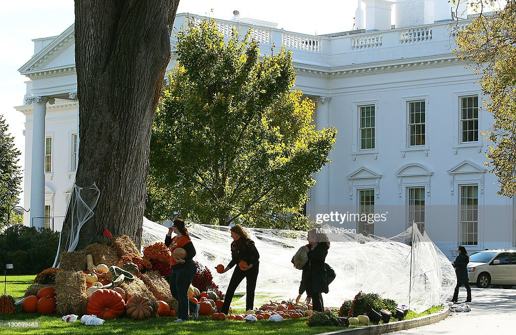 White House Decorated For Halloween Part - 28: Workers Put Up Halloween Decorations On The North Lawn Of The White House  October 28,