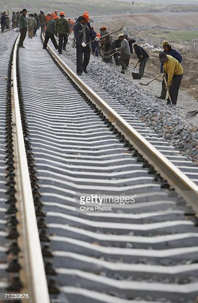 Workers reinforce the roadbed along the XiningGolmud section of the QinghaiTibet Railway on June 17 2006 in Gangcha County of Qinghai Province China...