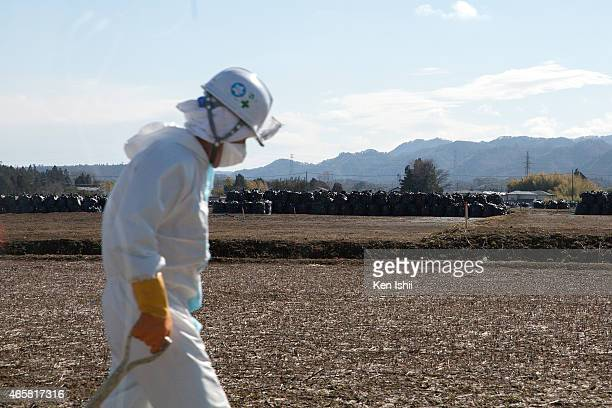 Workers remove soil during decontamination work on March 10 2015 in Tomioka Fukushima prefecture Japan On March 11 Japan commemorates the fourth...