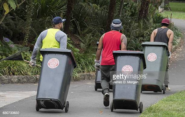 Workers removing wheelie bins of rubbish in North Sydney on January 1 2017 in Sydney Australia More than a million people lined the harbour foreshore...