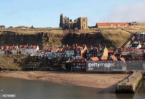 Workers repair the cliff where Saint Mary's Church and Whitby Abbey stand overlooking the North Sea after a recent land slide in Whitby northeast...