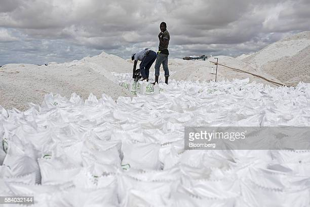 Workers seal 25 kilo sacks of salt in the salt dunes beside Lake Retba during the harvest near Dakar Senegal on Tuesday July 26 2016 The Pink Lake is...